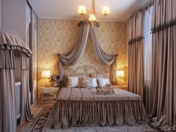 Elefgance and Opulent Romantic bedroom design Idea